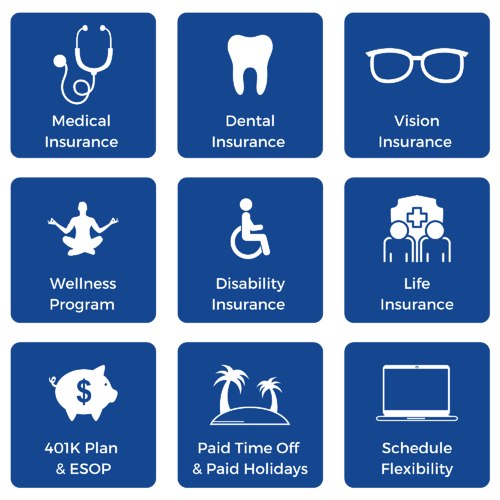 Icons representing various benefits